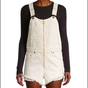 Free People Sunkissed Shortall Off White Overalls